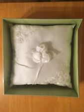 Embroidered White Wedding Ring Bearer Pillow with lace ties for Rings