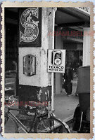 WW2 SINGER SEWING MACHINE TEXACO OIL SHOP SIGN ADS VINTAGE SINGAPORE PHOTO 17549