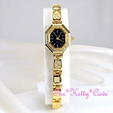 OMAX Waterproof Gold PL Deco Octagon Statement Watch w Swarovski Crystals JE0474
