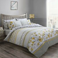 Floral Geometric Ochre Grey Double Duvet Cover Luxury Quilt Bedding Linen Set