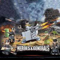 6pcs/set Armee Soldaten Bausteine mit Waffen Bricks WW2 Militär Figuren