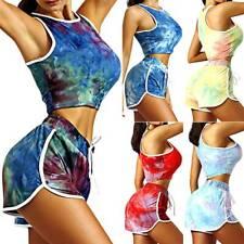 Womens Sports Yoga Tracksuits Tie-dye Crop Vest Tops High Waist Shorts Pants Set