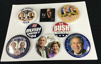 Set of 8 Elect George W Bush & Cheney For President 2000 2004 Buttons Pins