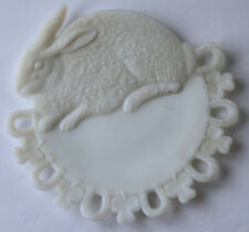 ANTIQUE Milk Glass Plate LUCKY RABBIT Horseshoes & Clover