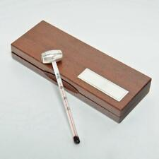 WINE THERMOMETER WITH STERLING SILVER HANDLE, WOOD CASE