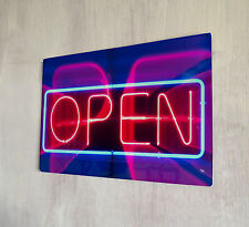 Open Neon Printed sign A4 metal plaque pubs and clubs kitchens