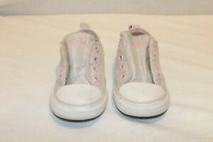 Converse All Star silver sparkle pink  low top sneakers 07 toddler HCB