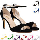 LADIES WOMENS HIGH MID HEEL PLATFORM FLATFORM ANKLE STRAP SHOES SANDALS SIZE 2-9