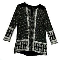 Lucky Brand Women's Large Long Sleeve Patterned Keyhole Neckline Blouse Black