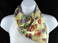 School Days Womens Gift For Teacher Square Ladies Scarfs Yellow Scarves New