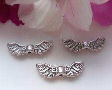50 Metal Beads Angel Wings Angel Wings Antique Silver 22x7mm
