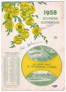 MEL ALLEN & RED BARBER  Signed 1958 YANKEES Scorebook PROGRAM AUTO Signature PSA