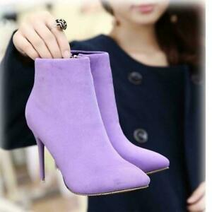 Fashion Womens Suede Party Ankle Boots Side Zip Stiletto Heels Pointy Toe Shoes
