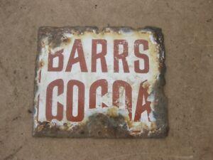 Old Vintage Antique Enamel Sign Shop Advert Shop Advert Barrs Cocoa Tin