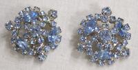 """Vintage Jewelry Kramer Earrings Pale Blue Rhinestones Floral Design NICE!!  1"""""""