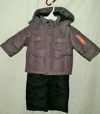 Carter's size 12 months boys 2pc snow suit gray with ski pants