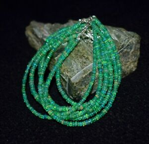 """Natural Ethiopian Opal 100 Cts Loose Electric Fire Beaded Bracelet 7"""" Inch"""