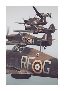 Hawker Hurricane Squadron Battle of Britain A4 picture poster choice of frame