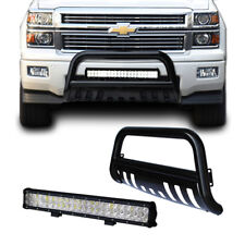 CHEVY Silverado 07-17 Black Bull Bar Bumper Grille Guard + 126W Cree LED Light