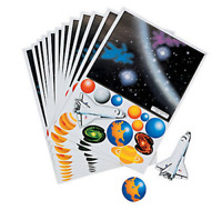 Pack of 12 - Solar System Sticker Scenes - Party Bag Fillers Activity Sheets