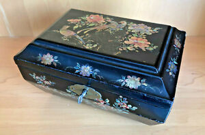 Antique English Papier Paper Mache Box w Key & Mother Pearl Inlay Dresser Sewing