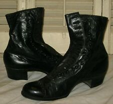 Antique Vintage VICTORIAN BLACK LEATHER HIGH TOP BUTTON BOOTS SHOES  Red Cross