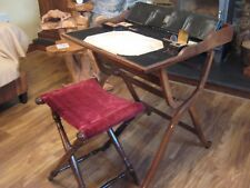 WONDERFUL LATE GEORGIAN MAHOGANY FOLDING CAMPAIGN DESK + STOOL / SEAT.