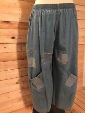 *La Bass* leichte Ballon-Jeans, blau, Gr 42-46 (2), aufgenähte Flicken
