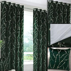 Emily Dark Green Velour Interlined & Blackout Pair Eyelet Ring Top Curtains