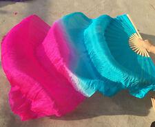 1 pair (L+R)1.8m long belly dance fans 100%silk fan veil turquoise+rose color