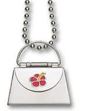 "Envelope Purse Locket Pendant Red Enamel Flower Stainless Steel 22"" Necklace"