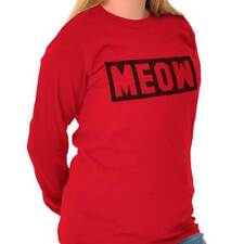 Meow Cat Cute Kitten Lover Adorable Funny Long Sleeve T-Shirts Tee For Women