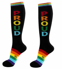 PROUD Socks, LGBT Athletic Gay Socks, Black with Rainbow, by Gumball Poodle