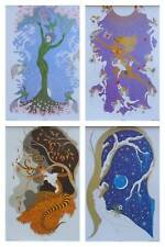 THE FOUR SEASONS - ETRE 1986 ART DECO PRINTS - MOUNTED WITH WHITE FRAMES 14 x 11