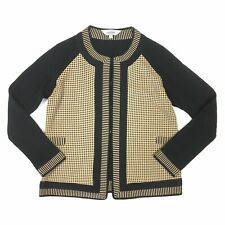 Exclusively MISOOK Sz M P Cardigan Sweater Jacket Black Tan Plaid Long Sleeved