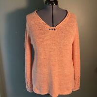Chico's Women's Size 3 (XL/16) Sweater Square V-Neck Neck Loose Knit Pink White