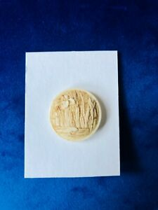 Beautiful button! Carved and tinted Japanese Iris. Rare. Self Shank.