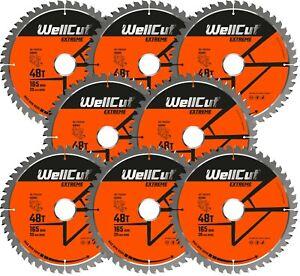 8 x WellCut Plunge TCT Saw Blade 165mm x 48T x 20mm DWS520 DCS520 SP6000 GKT55