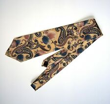 Classy 417 by Van Heusen 100% Silk Neck Tie Soft Yellow Blue Paisley Excellent!