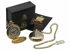 VW BEETLE 24k Gold Clad POCKET WATCH CHAIN VOLKSWAGEN Classic Car Luxury Gift