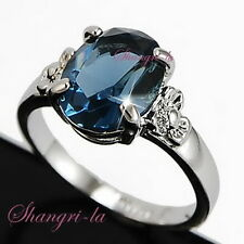 0439 18K 18CT White Gold Plated Blue SAPPHIRE RING w/ SWAROVSKI CRYSTAL Size9