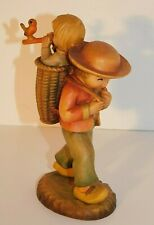 """Anri """"The Hikers"""" Boy with Child in Basket Carved Wood Figurine 6"""" Italy Mint"""