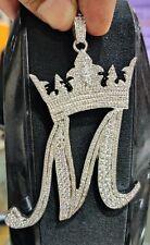 Men's 14k White Gold Over Custom Initial M Crown Pendant in 1.5 ct Sim Diamond