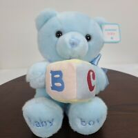"Aurora Baby Blue Baby Boy Plush 8"" Teddy Bear Musical ABC Block Soft Ribbon"