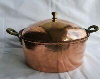 Vintage Hammered Copper Pot & Lid with Brass Handles (LR494)