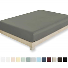 California Design Den 400 Thread Cou 00004000 nt 100% Cotton 1 Fitted Sheet Only, Slate -