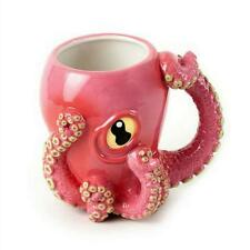AWESOME OCTOPUS MUG Fun Wacky Pink Ceramic 3D Coffee Cup Tentacle Handle NEW