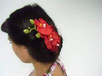 Pince clip barette cheveux branche 4 orchidee orchidees fleurs rouge coiffure