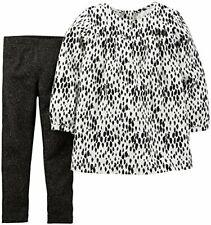 Carter's girl's 12 month black shimmer legging animal print top set black white