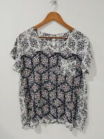 [ RIDLEY] Women's Prints Blouse Scoop Neck Short Sleeve Top | Size M or AU 12
